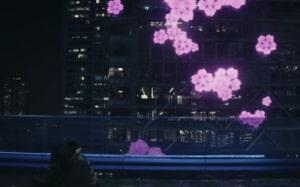 ラストの電光掲示板の桜