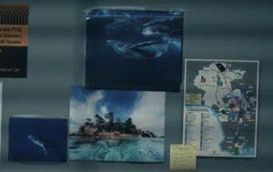 オフィスに貼られたクジラの写真