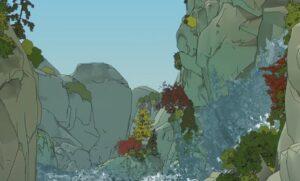 ブライトサムライソウルの滝のシーン